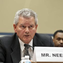Appearing before the House Committee on Oversight and Government Reform, former GSA official Jeff Neely declines to answer questions at a hearing about wasteful spending and excesses at a Las Vegas conference, on Capitol Hill in Washington, Monday, April 16, 2012. Neely, formerly the regional commissioner of the Public Buildings Service, Pacific Rim Region, was ordered to leave the witness table after invoking his rights to not testify on the advice of his counsel.