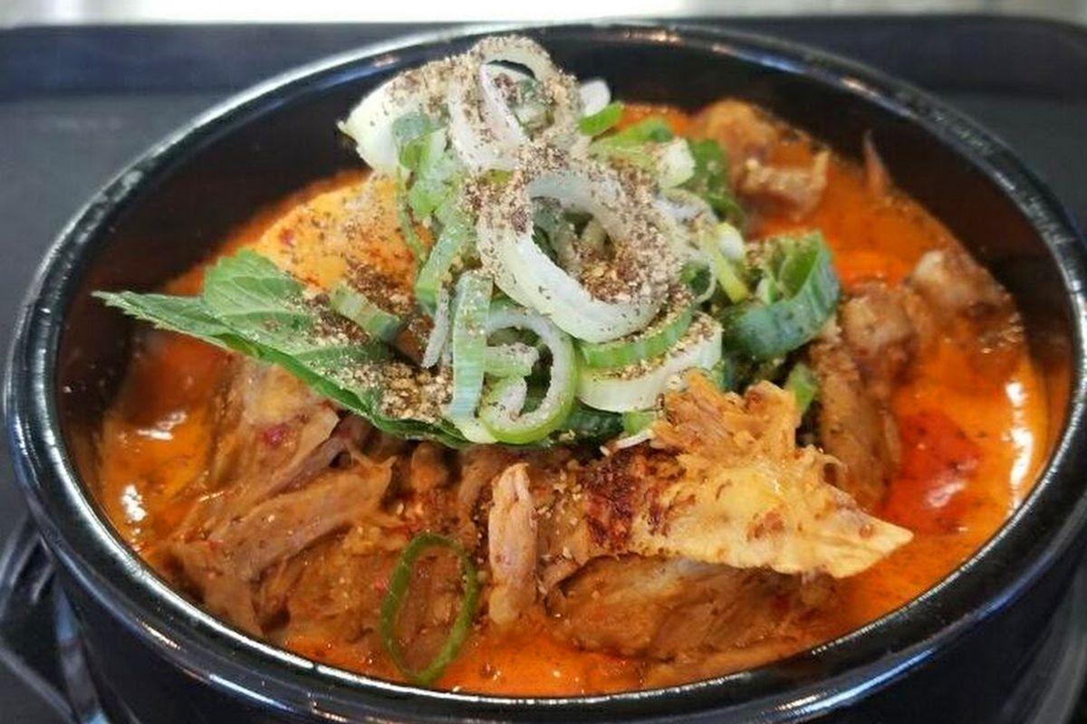Soondaeguk pork bone broth soup on the menu at the newly opened Moobongri Soondae.