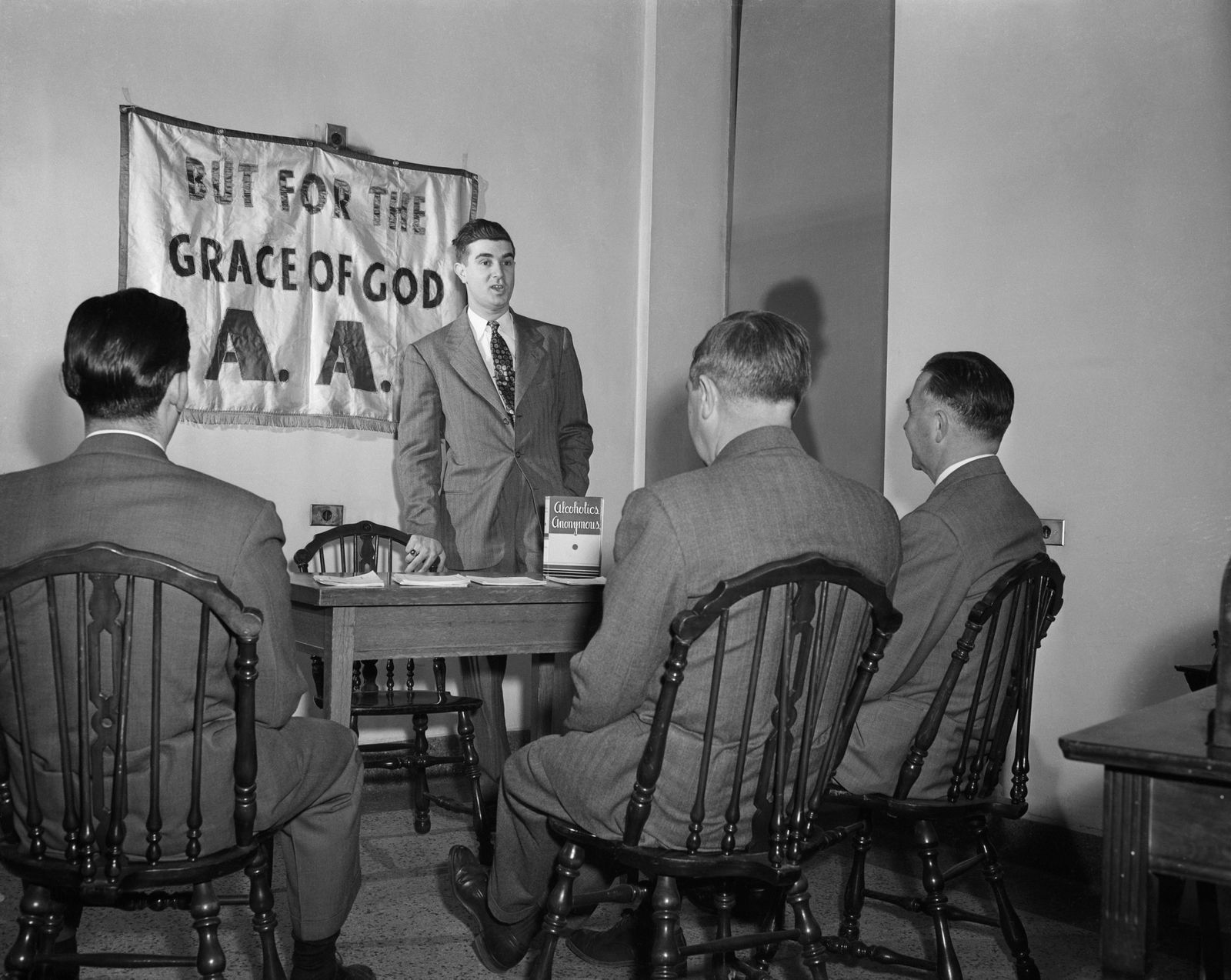 An AA meeting, circa 1950.