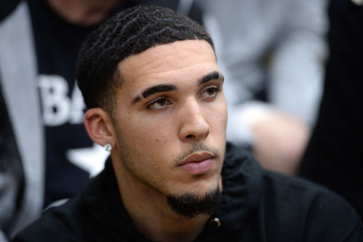 LiAngelo Ball attends the game between Spire Institute and Bella Vista Prep at Chaparral High School.