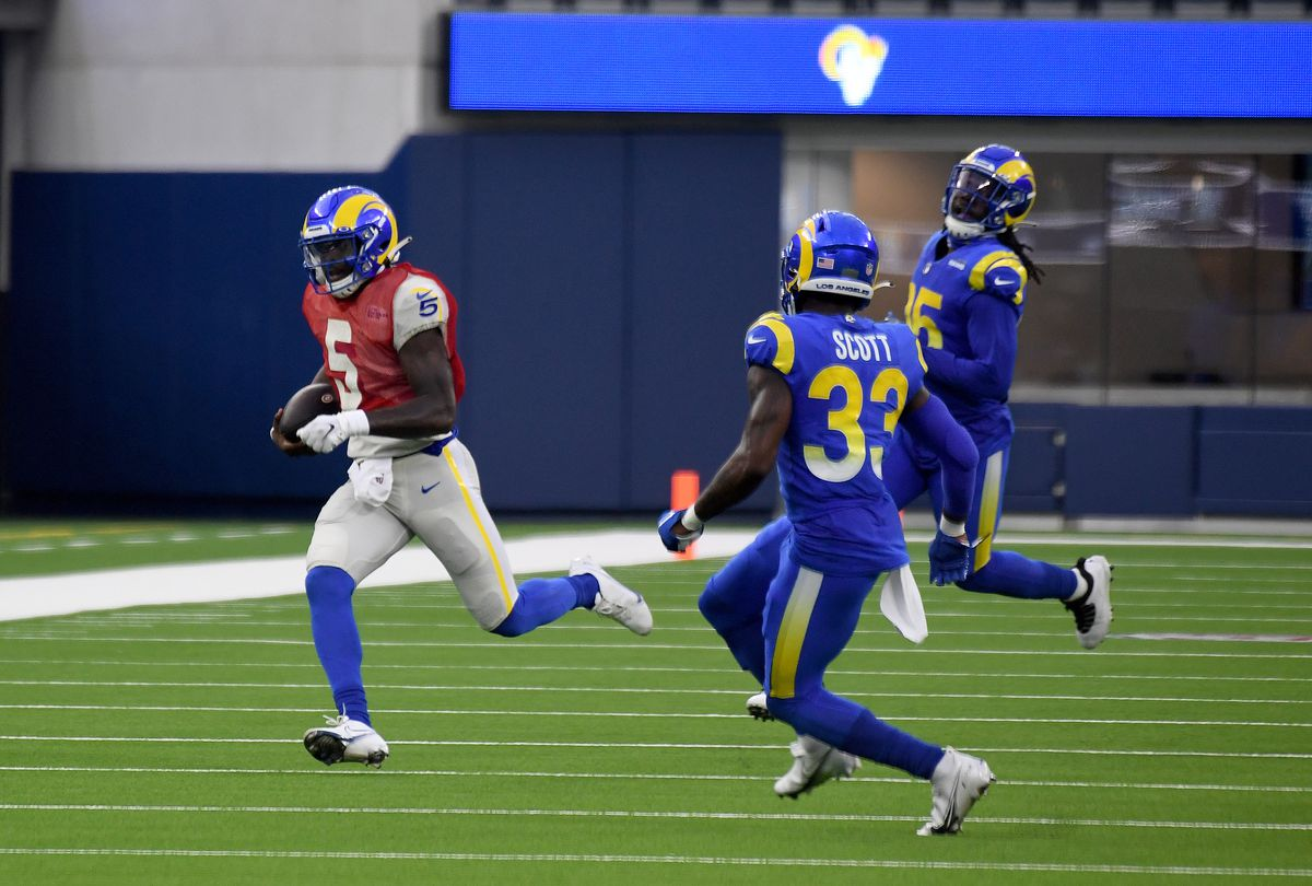 Los Angeles Rams played a scrimmage football game at Sofi Stadium in Inglewood, California.