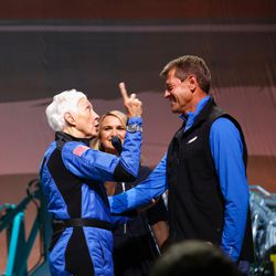 Wally Funk, with former Space Shuttle commander and Blue Origin senior director for mission assurance Jeff Ashby, on stage during a post-mission event.