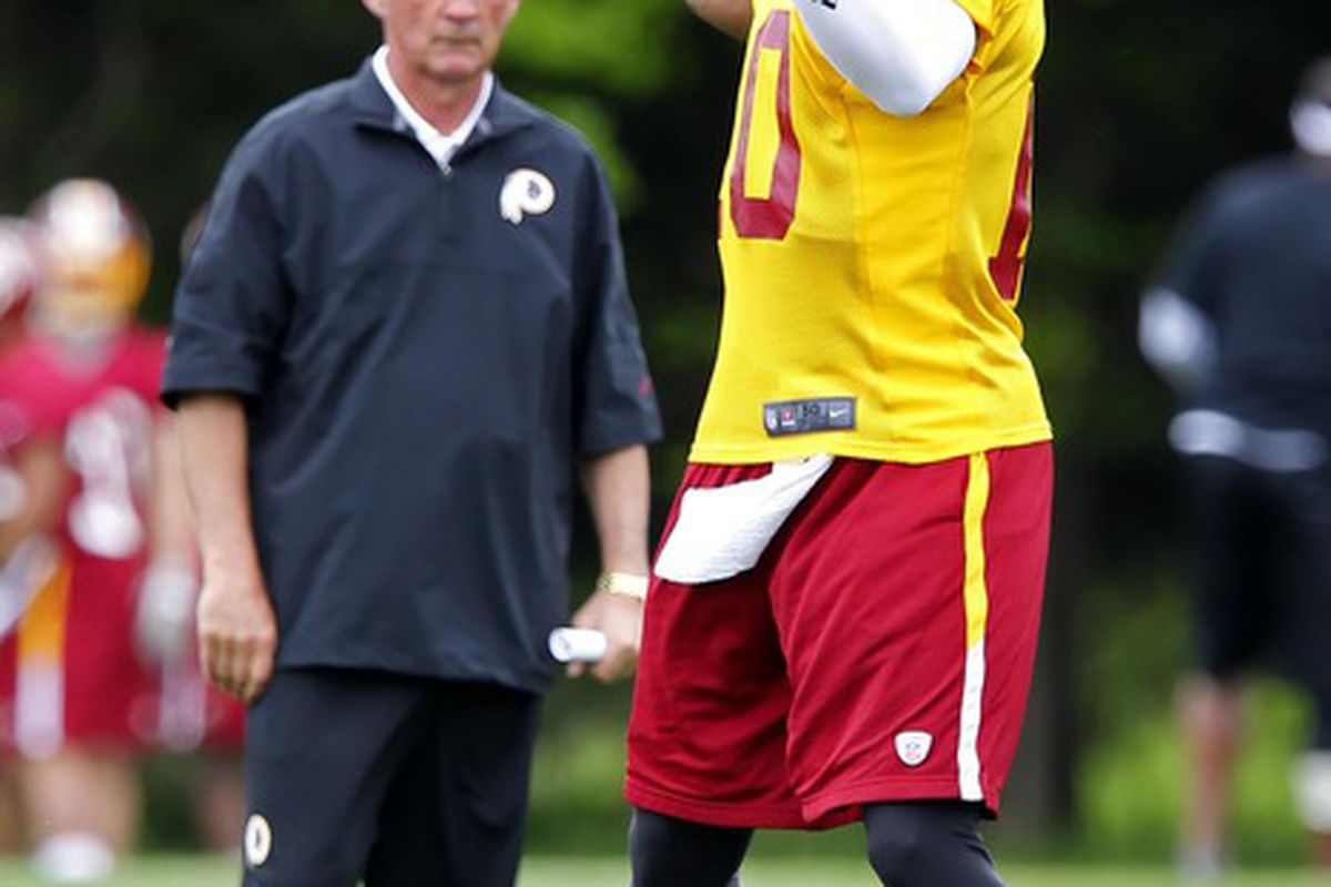 May 6, 2012; Ashburn, VA, USA; Washington Redskins quarterback Robert Griffin III (10) throws the ball as Redskins head coach Mike Shanahan watches during rookie minicamp at Redskins Park. Mandatory Credit: Geoff Burke-US PRESSWIRE