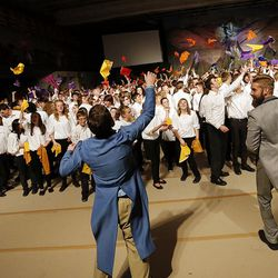 Youths cheer at the end of the cultural celebration for the Star Valley Wyoming Temple in Afton, Wyoming, on Saturday, Oct. 29, 2016.