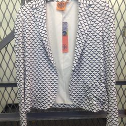 Printed blazer, $195
