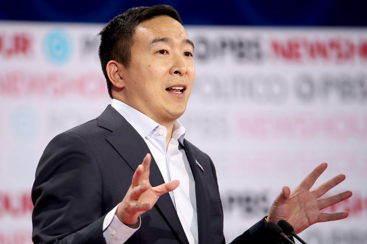 Democratic presidential candidate Andrew Yang speaks during the Democratic presidential primary debate at Loyola Marymount University on December 19, 2019 in Los Angeles, California.