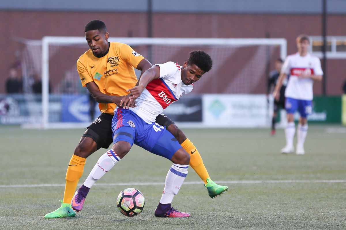 USL Photo - TFC II's Andrews gets on the ball in Pittsburgh territory