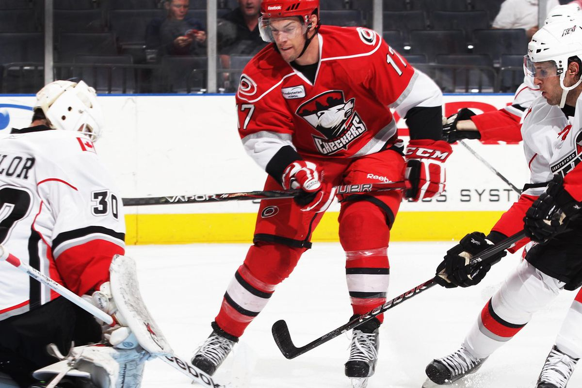Jerome Samson of the Charlotte Checkers drives the net.  (file photo by Gregg Forwerck)