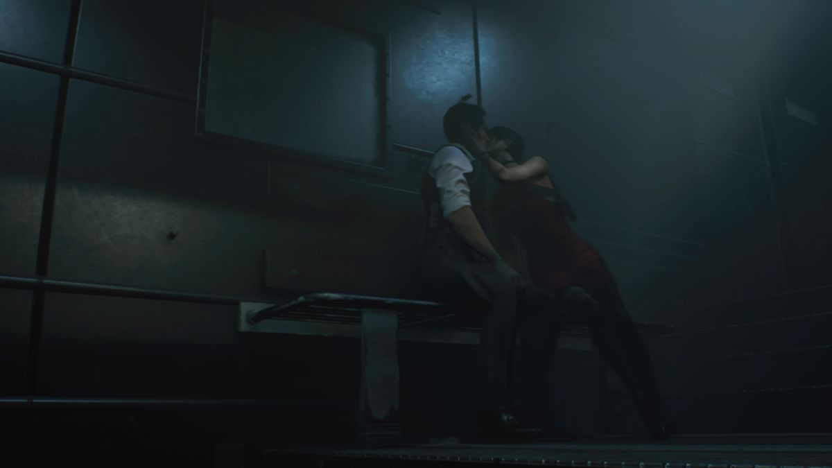 RE2 remake Leon 2nd Sewers Ada kiss