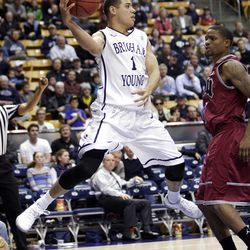 Brigham Young Cougars guard Raul Delgado (1) looks to pass in Provo  Thursday, Jan. 3, 2013.