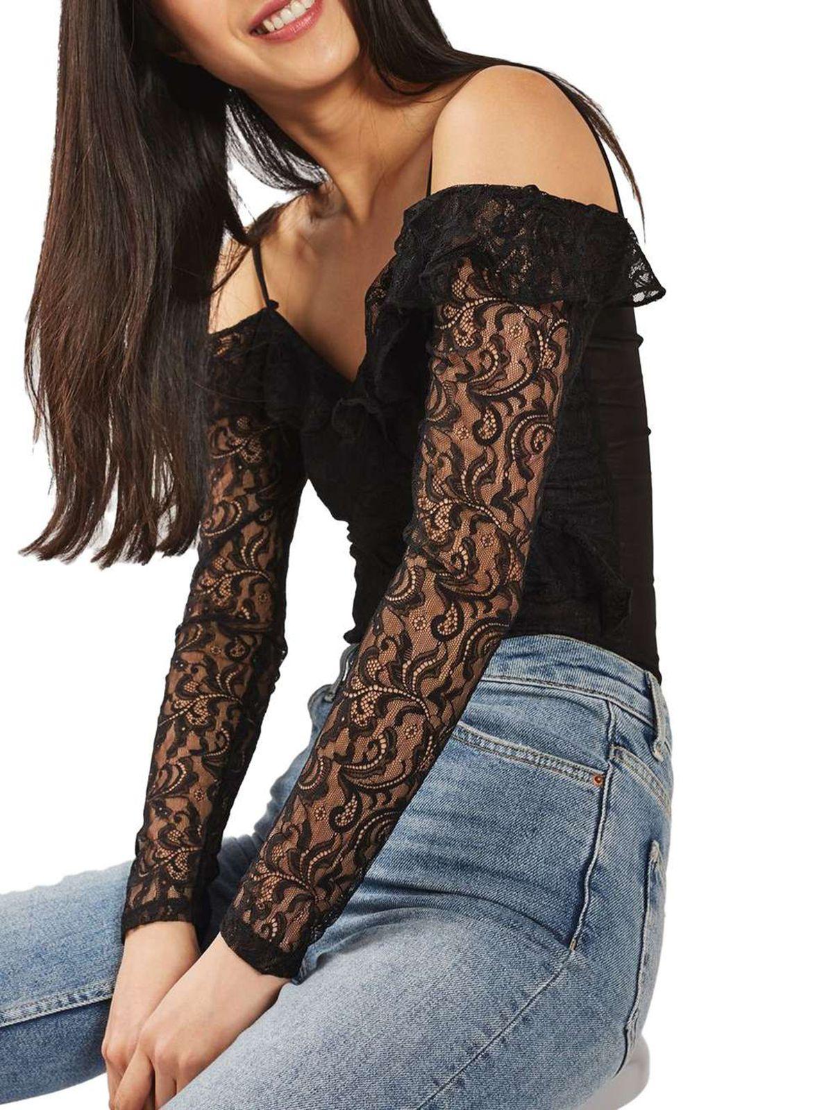 Topshop Lace Off the Shoulder Bodysuit, $29.99