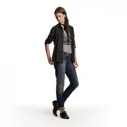 Tank in Gray, $26.99 Woven Silk Blouse in Black, $34.99 Skinny Jeans with Patches, $49.99