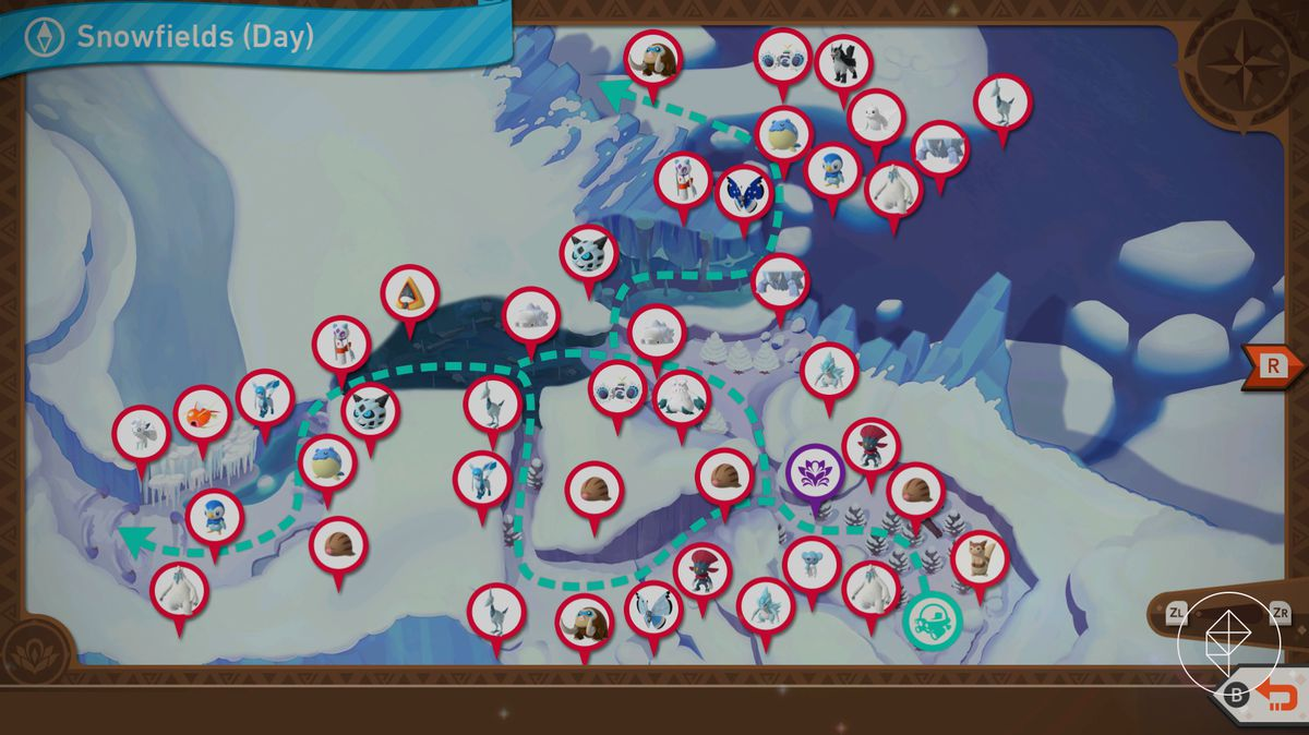 A map of Shiver Snowfields during the day