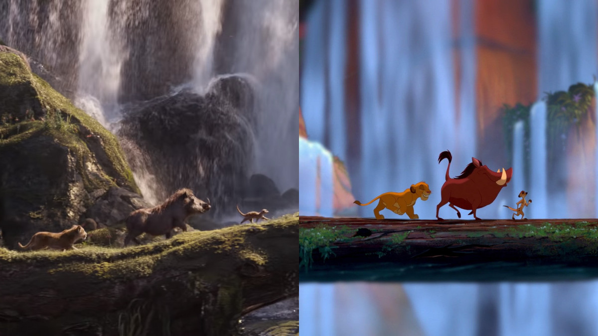 A Side By Side Comparison Of The New Lion King With The 1994