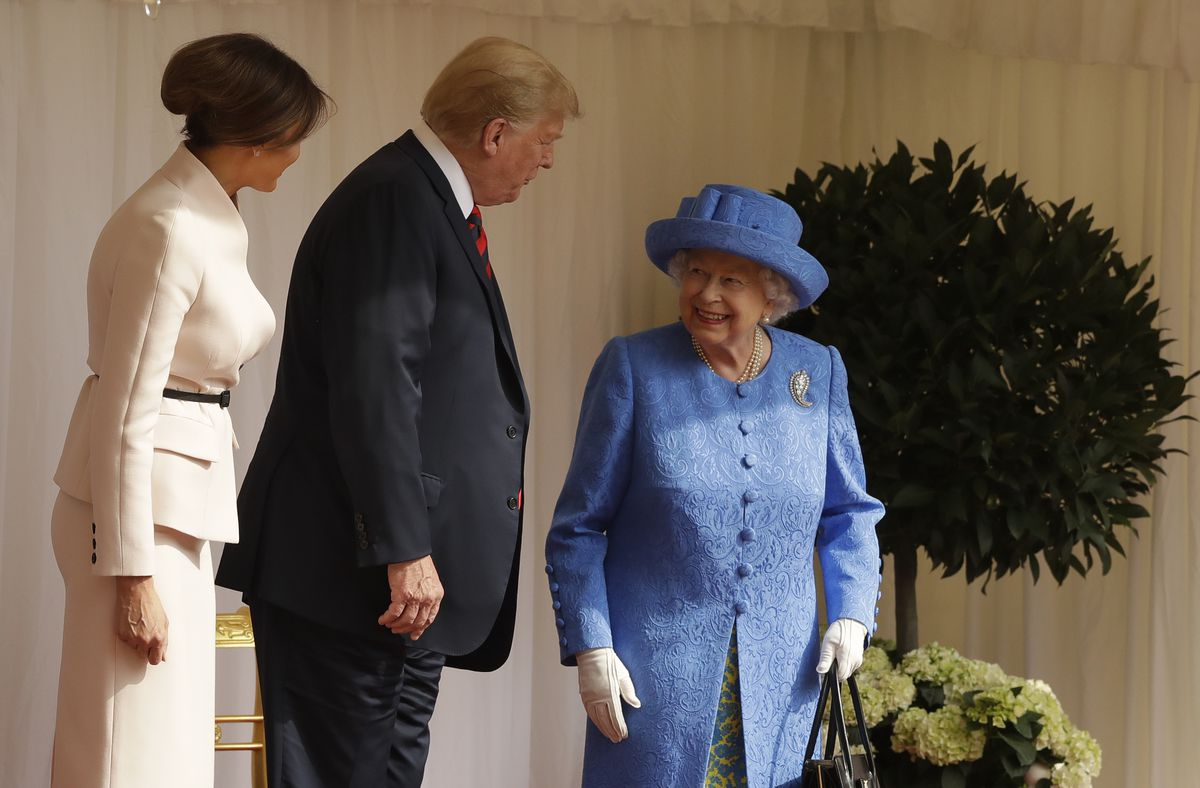 President Donald Trump and First Lady Melania Trump speak with Queen Elizabeth II.
