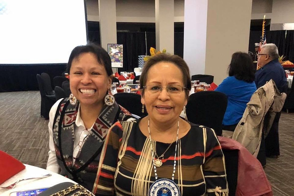 Sheila Rivera, left, with her mother, Rita Matterra, at a Choctaw tribal function.