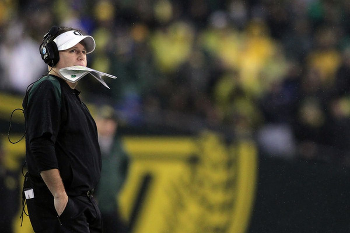 Chip Kelly reaches for the pinnacle of most coaches careers in only his second season as head coach at Oregon. (Photo by Jonathan Ferrey/Getty Images)