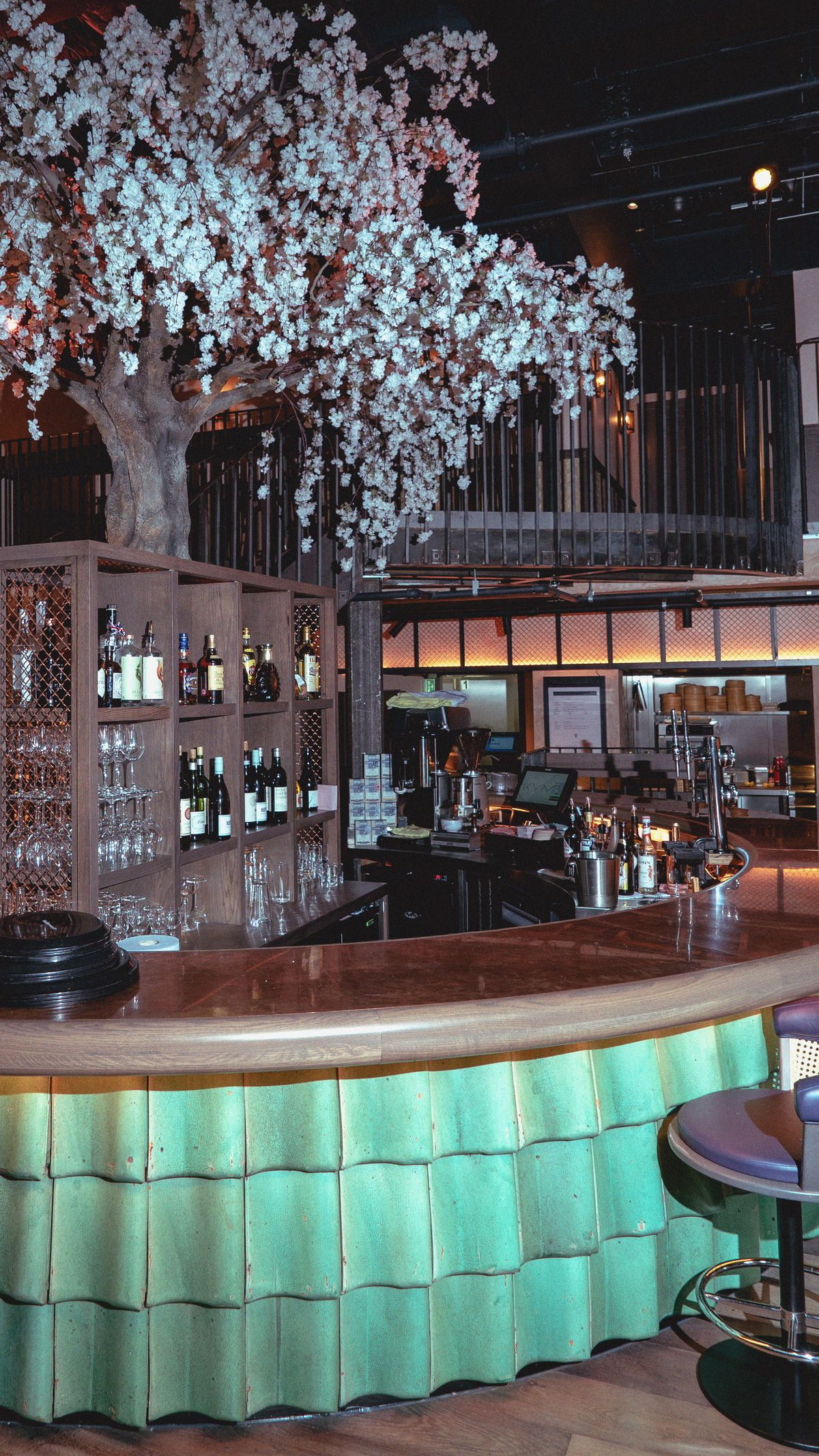 The soon to be iconic tree at Kym's in the Bloomberg Arcade restaurant development, London - the follow-up to Michelin-starred dim sum restaurant A. Wong in Victoria