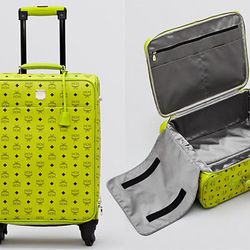 """<b>MCM</b> Travel Carry On Trolley in Lime Green, <a href=""""http://www1.bloomingdales.com/shop/product/mcm-travel-carry-on-trolley?ID=709837&CategoryID=1000314#fn%3Dspp%3D28"""">$1,470</a> at Bloomingdale's"""