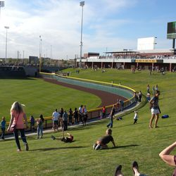 The outfield berm, seen from right-center field