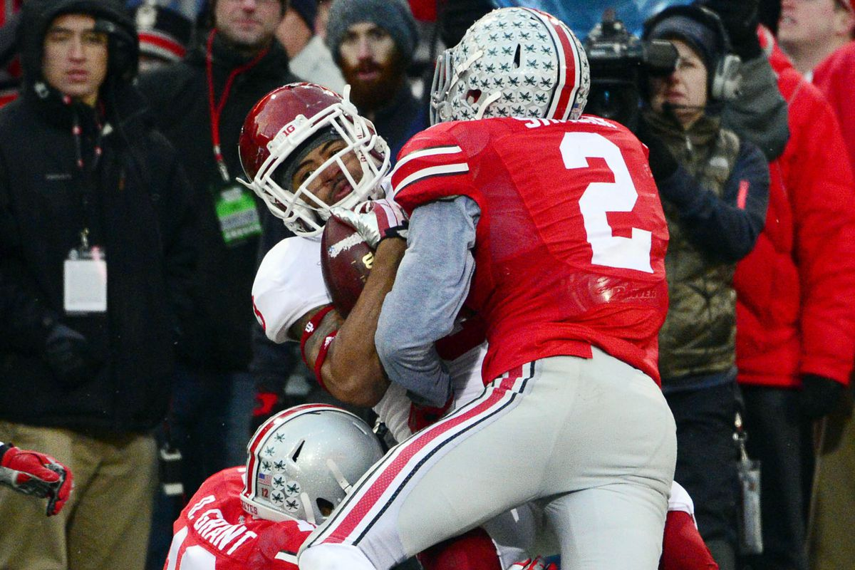 Ohio State linebacker Ryan Shazier making yet another tackle for the Buckeyes against Indiana.