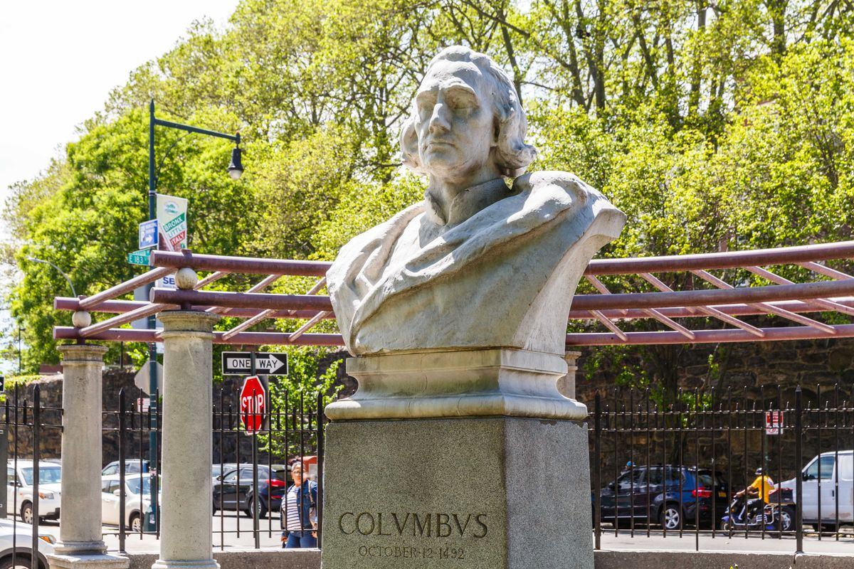 A Christopher Columbus bust at D'Auria-Murphy Triangle