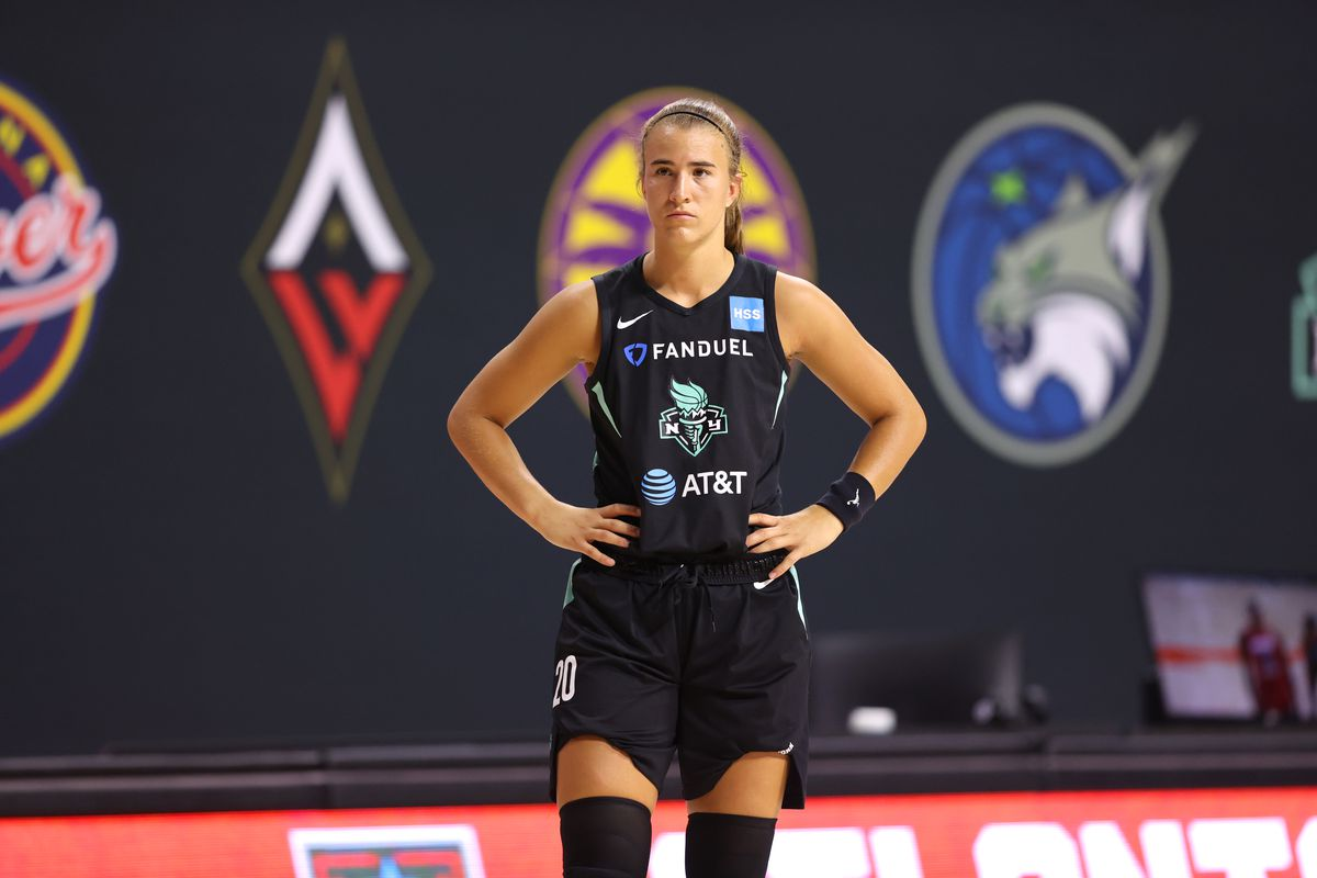 Sabrina Ionescu of the New York Liberty looks on during the game on July 31, 2020 at Feld Entertainment Center in Palmetto, Florida.