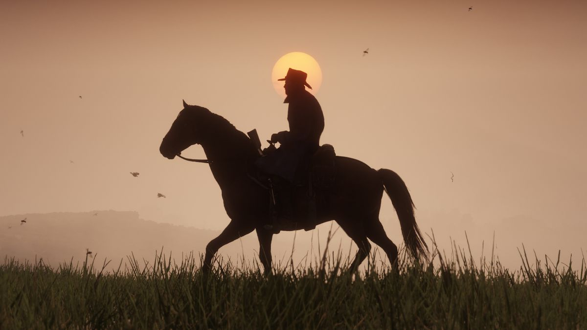 the silhouette of arthur morgan on a horse with birds in the background