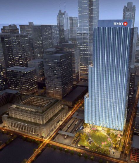 A rendering of the office tower at 320 S. Canal St. to be anchored by BMO Harris. Union Station is on the left.