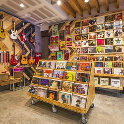 """Music is also a heavy focus. """"We sell vinyl like crazy, it's insane,"""" Hauser adds. """"This store carries around 600-800 choices, and many are exclusive to us. <b>Lana del Rey is this year's bestseller</B>. We also brought in some guitar amps, effect pedals"""