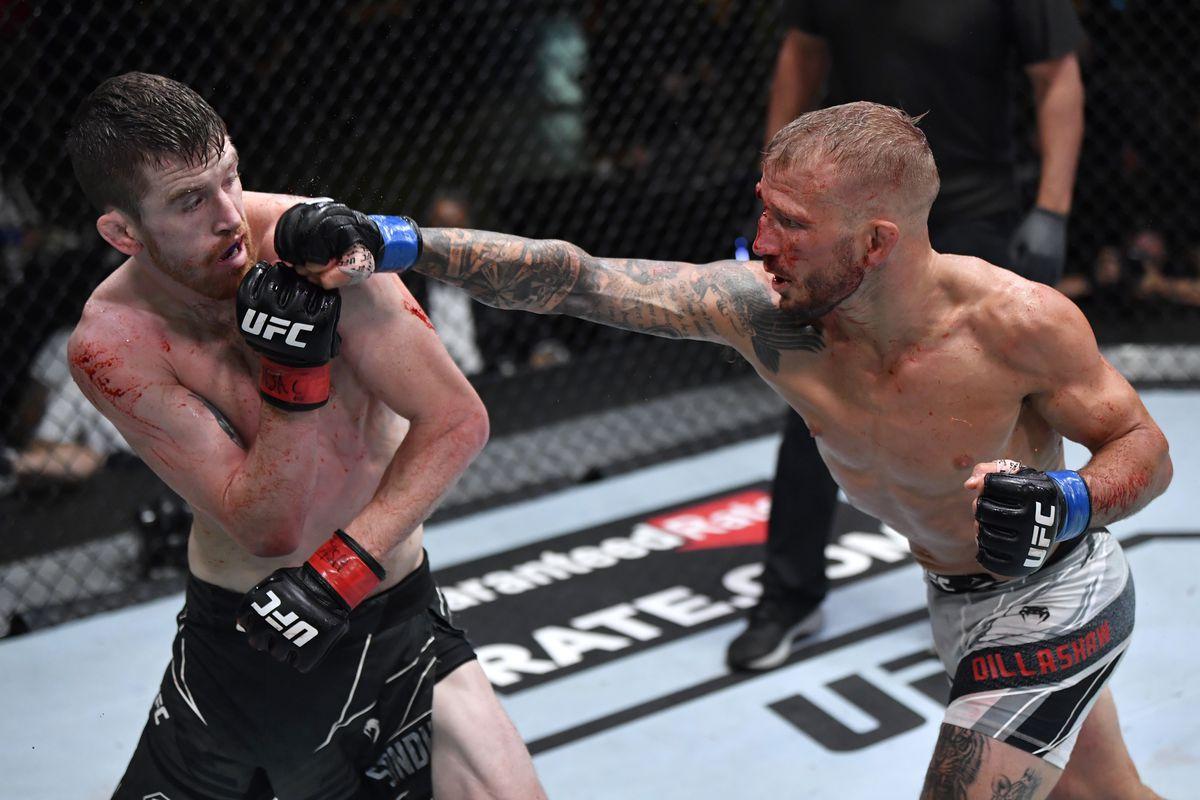 Cory Sandhagen and T.J. Dillashaw at UFC Vegas 32