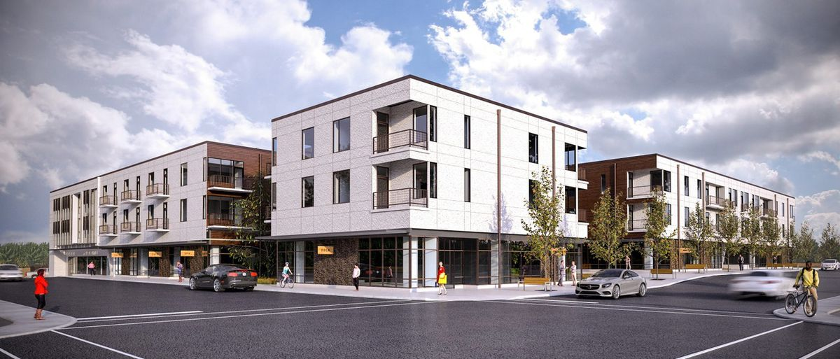 rendering of a three-building, three-story contemporary residential block
