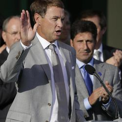 European team captain Jose Maria Olazabal, right, watches as USA's captain Davis Love III speaks during the opening ceremony at the Ryder Cup PGA golf tournament Thursday, Sept. 27, 2012, at the Medinah Country Club in Medinah, Ill.
