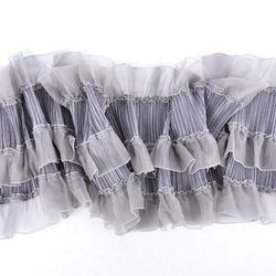 A vintage Mina Mann gray, pleated ruffle scarf. Buy it now for $95.