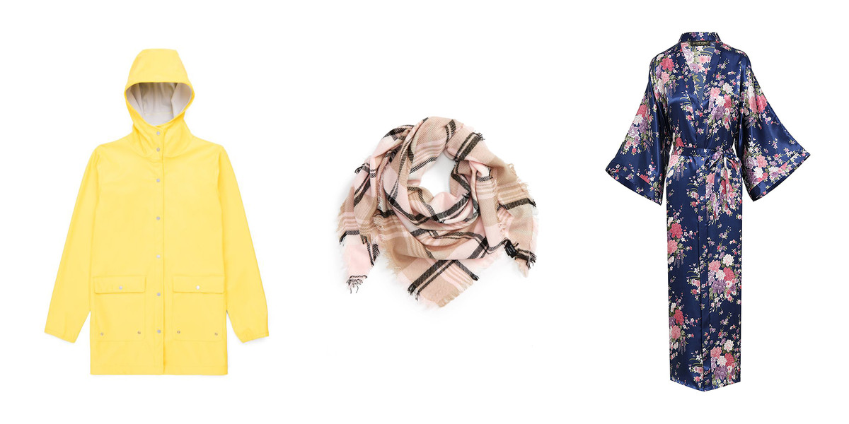 Herschel Yellow Parka David & Young Pink and Black Triangle Scarf; Amazon Floral Dressing Gown