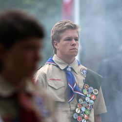 Members of the Boy Scouts of America stand during the grand opening of the Utah Freedom Memorial Friday, May 16, 2014, at the Salem City Hall.