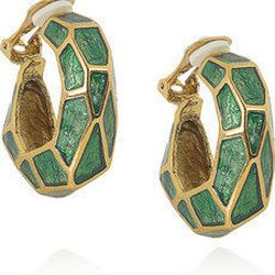 """<a href=""""http://www.theoutnet.com/product/332307""""><b>Oscar de la Renta</b> faceted enamel earrings</a>,  $87.75 (were  $195)"""