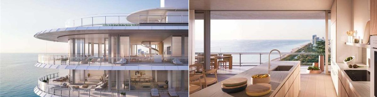Two photos. One of an aerial view of an upcoming luxury condo in Miami Beach with a glassy terrace and ocean in the background and the other from inside the kitchen with an open layout, nice island, and ocean views in the distance.