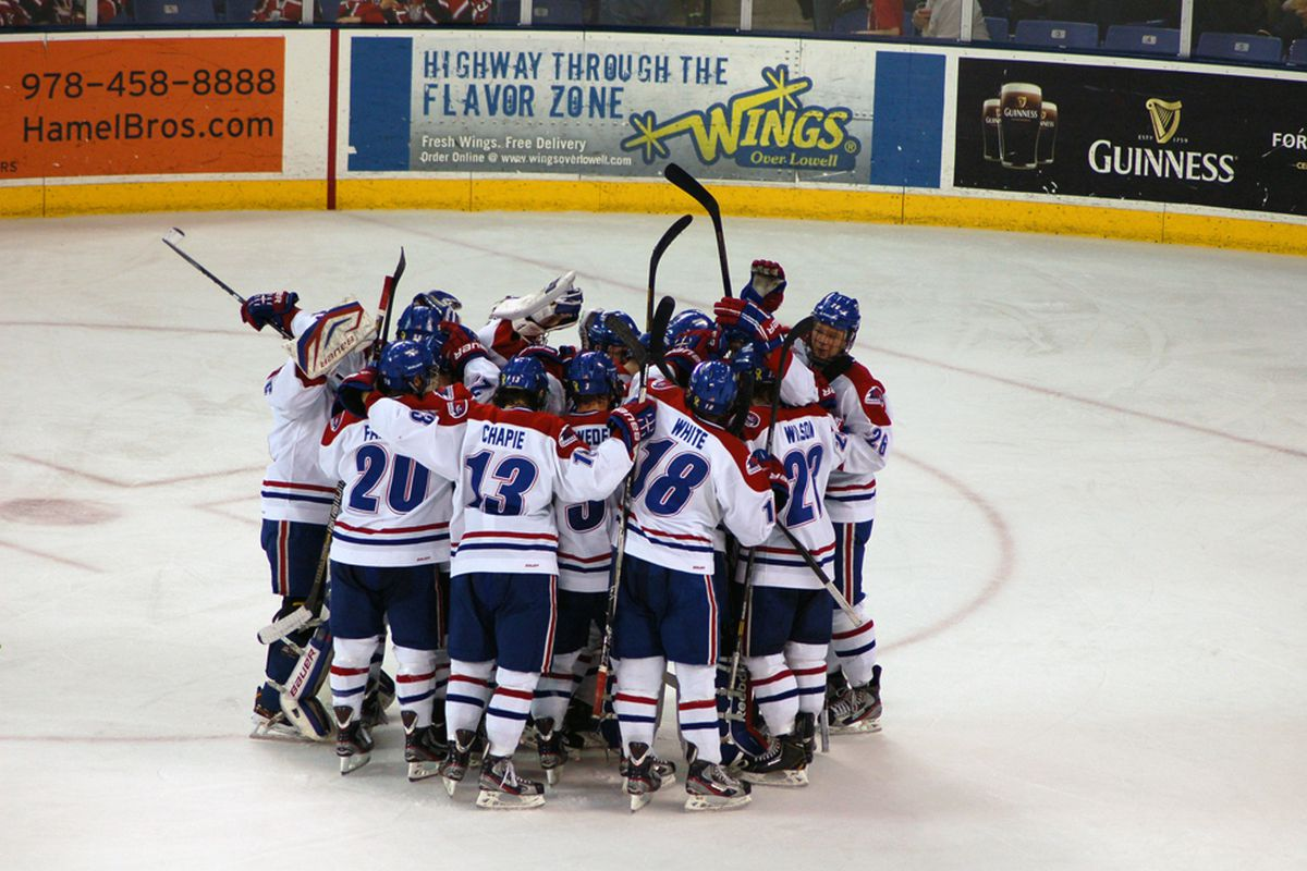 UMass-Lowell celebrates following an overtime victory over Northeastern earlier in the season.