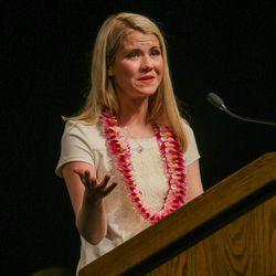 Elizabeth Smart speaks during a devotional at BYU-Hawaii on May 11.