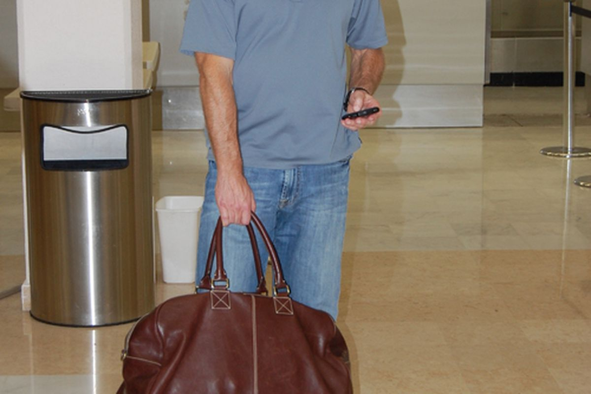 Bob Bradley arrives at the Torreon airport.