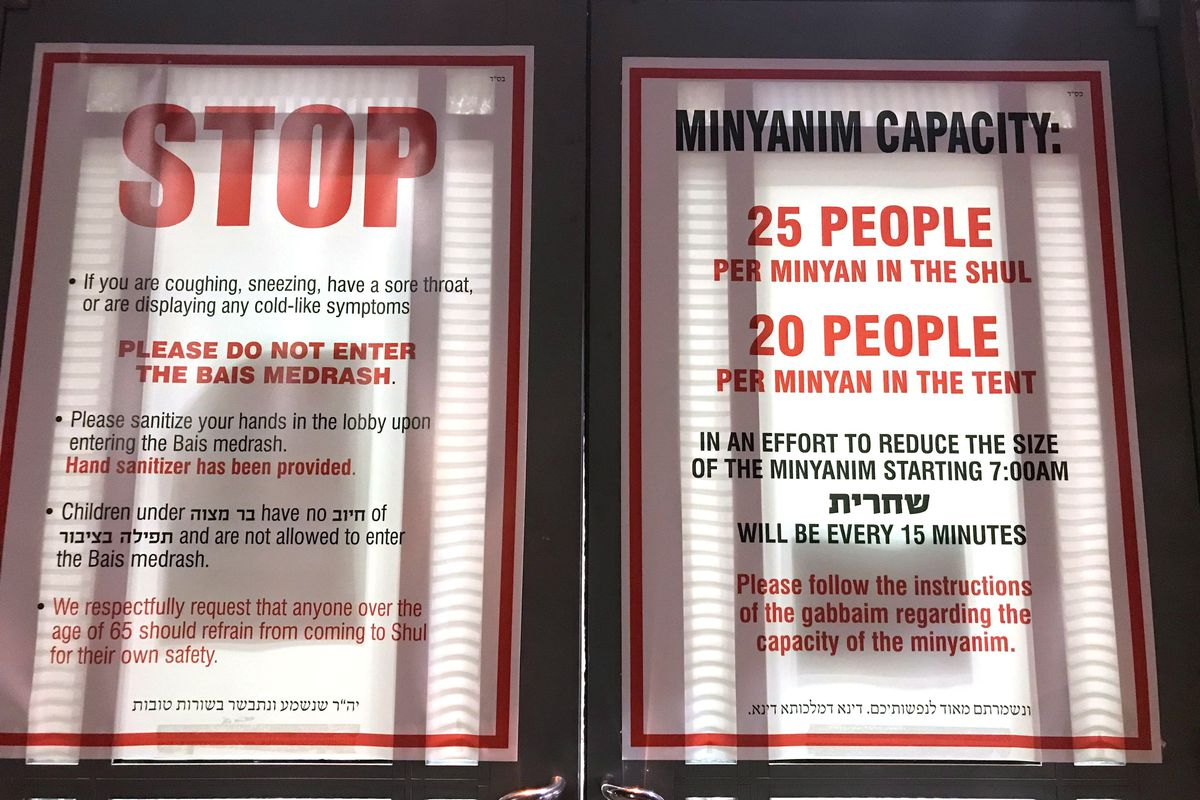 Congregation Hisachdis Yirieim Veretzky in Midwood took precautions to protect against the spread of the coronavirus.