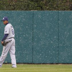Tampa Bay Rays center fielder Desmond Jennings looks towards home plate during a snow shower in the eighth inning of a baseball game against the Detroit Tigers in Detroit, Tuesday, April 10, 2012.