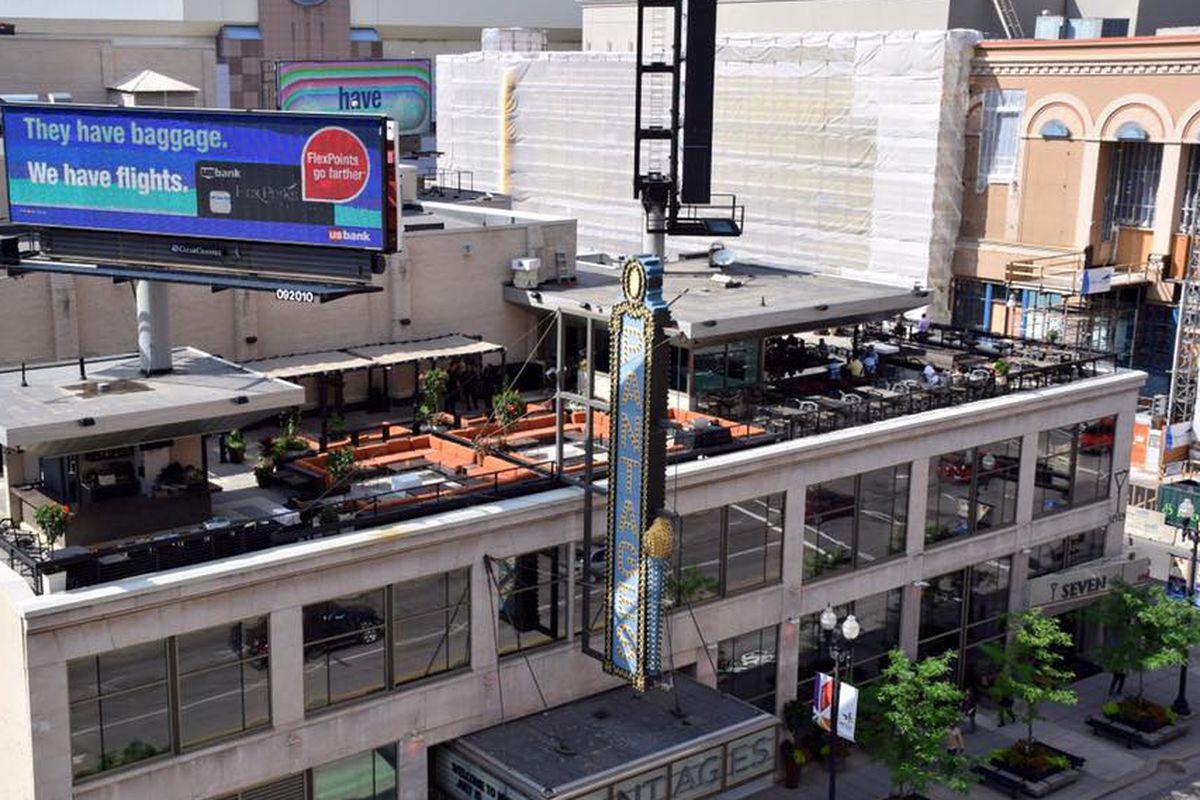 A bird's eye view of Seven's rooftop bar.