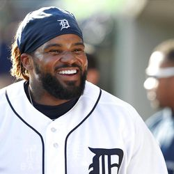 DETROIT, MI - APRIL 07:  Prince Fielder #28 of the Detroit Tigers smiles in the dugout after hitting a solo home run, his first as a Detroit Tiger in the fourth inning during the game against the Boston Red Sox at Comerica Park on April 7, 2012 in Detroit, Michigan.  (Photo by Leon Halip/Getty Images)