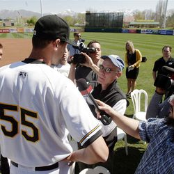 Salt Lake Bees pitcher Loek Van Mil talks with reporters during media day  in Salt Lake City  Tuesday, April 3, 2012.