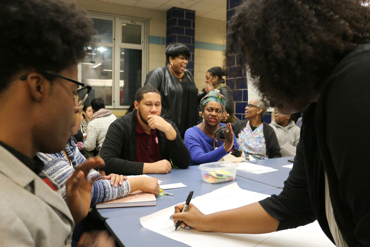 Newark residents wrote down challenges and opportunities in the district during Wednesday's forum.