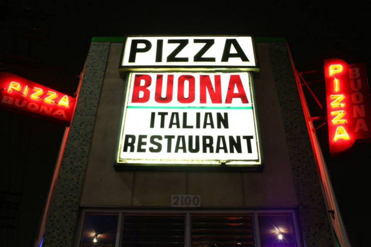 A sign for Pizza Buona in Echo Park