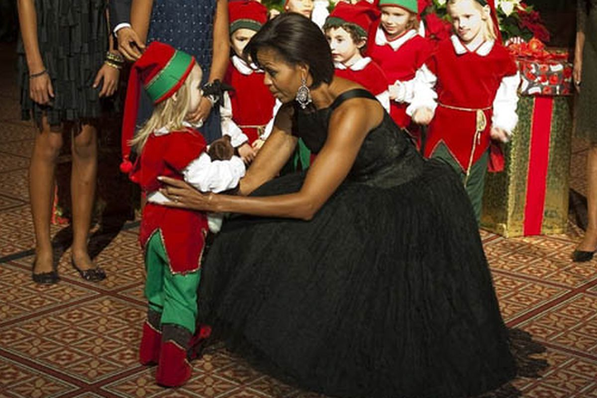 """Image via <a href=""""http://www.huffingtonpost.com/lesley-m-m-blume/michelle-obama-norman-norell-vintage-dress-photos_b_797625.html#209568"""">HuffPo</a>"""