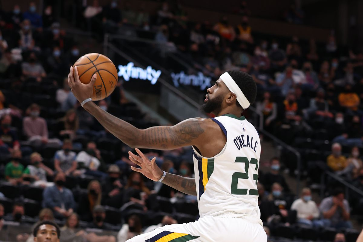 Royce O'Neale #23 of the Utah Jazz shoots the ball during the game against the Houston Rockets on May 8, 2021 at vivint.SmartHome Arena in Salt Lake City, Utah.